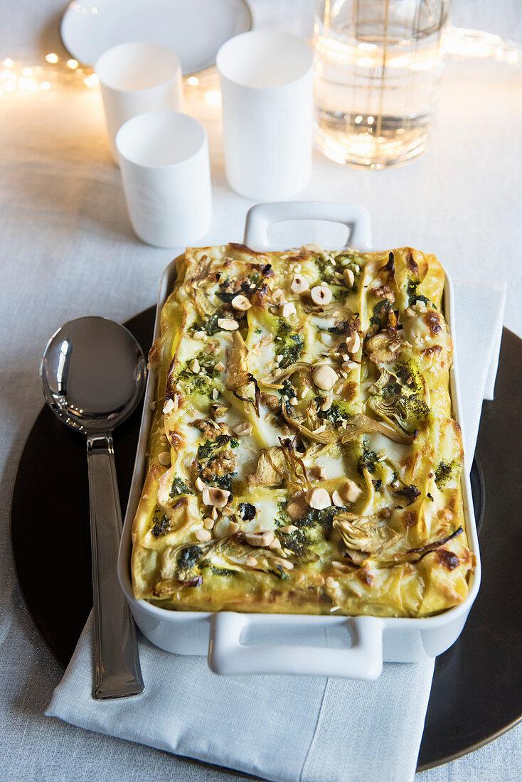 Lasagna with veal, artichokes, jerusalem artichoke and hazelnuts
