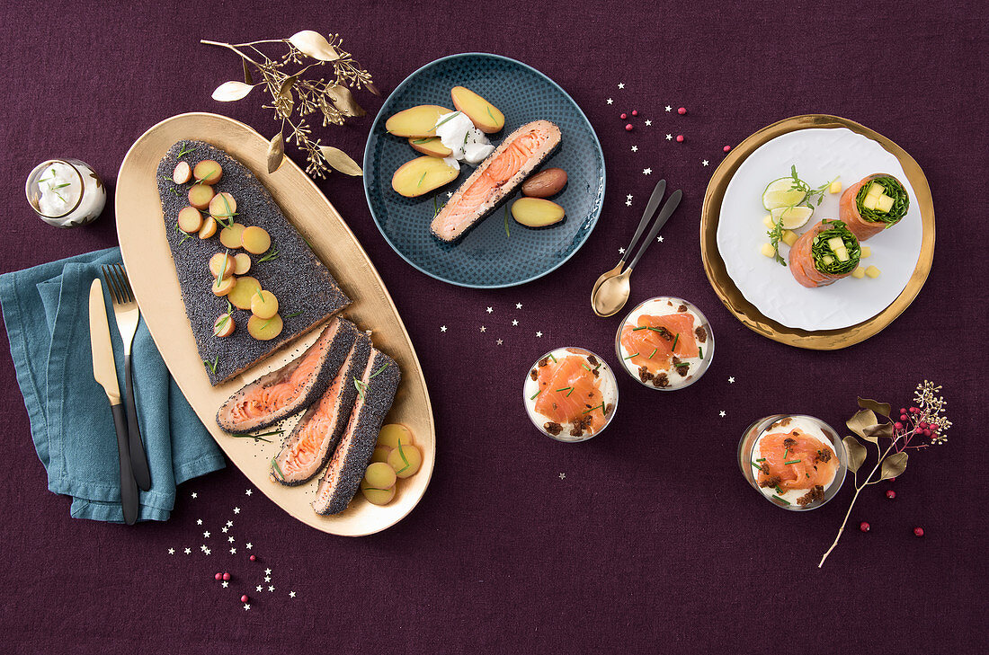 Various salmon dishes and salmon entrees