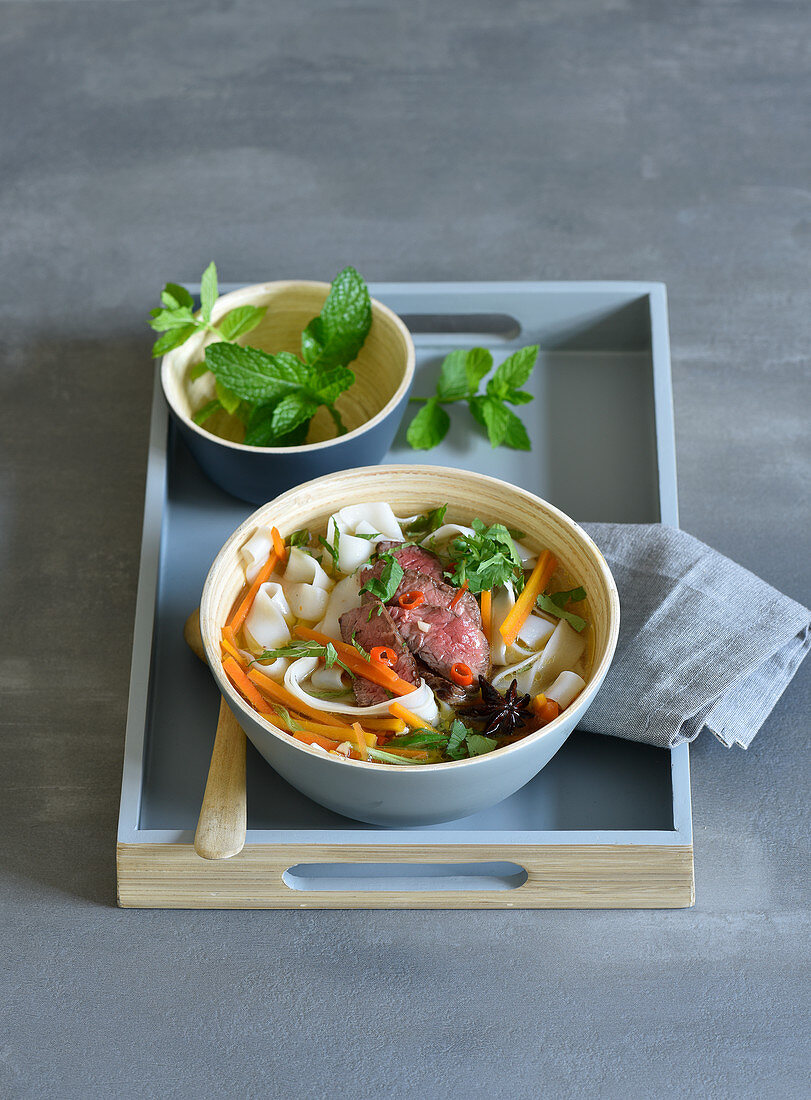 Pho (Vietnamese broth) with beef