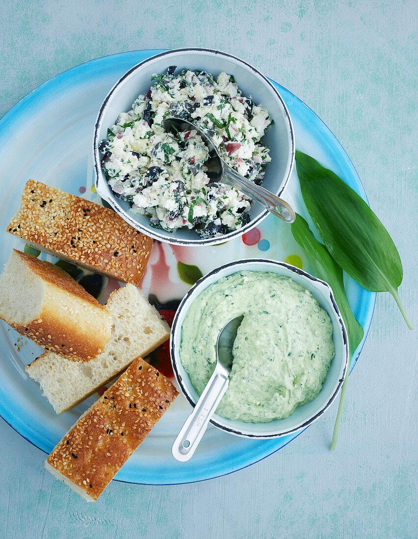 Sheep's cheese and wild garlic spread, and sheep's cheese tartar
