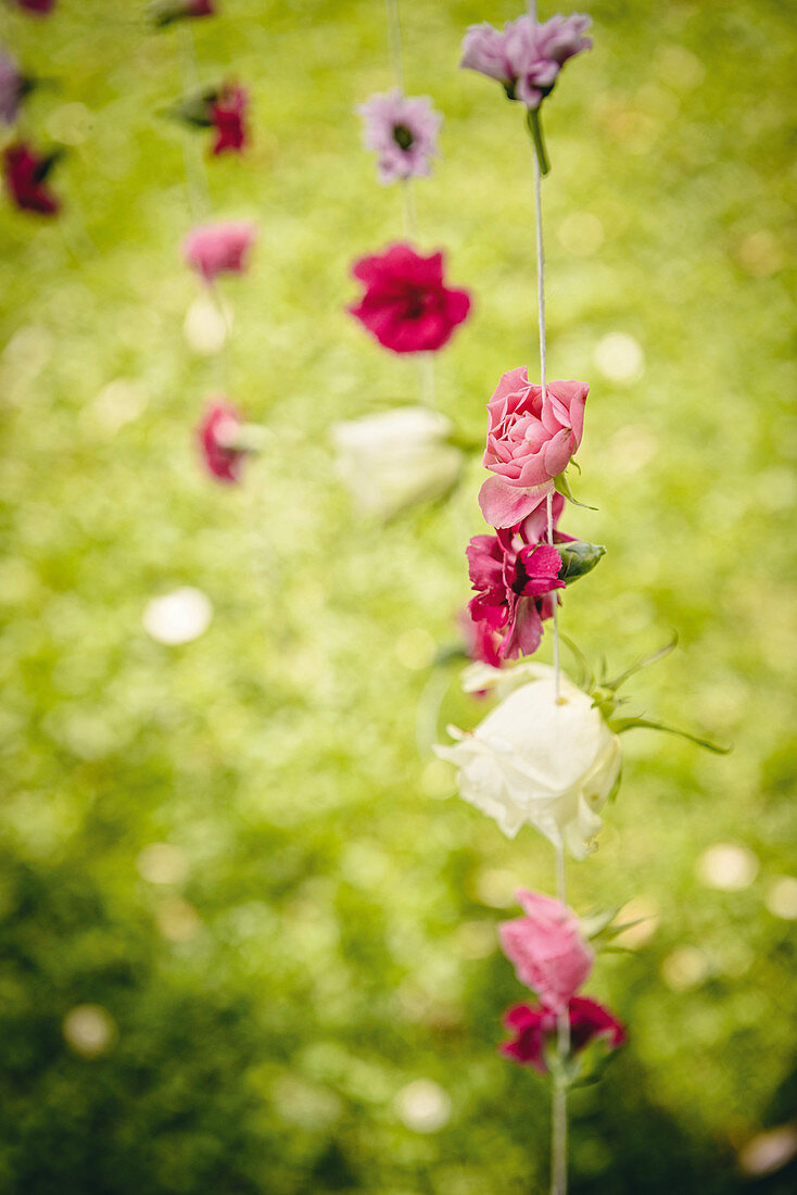 Mobile handmade from summer flowers
