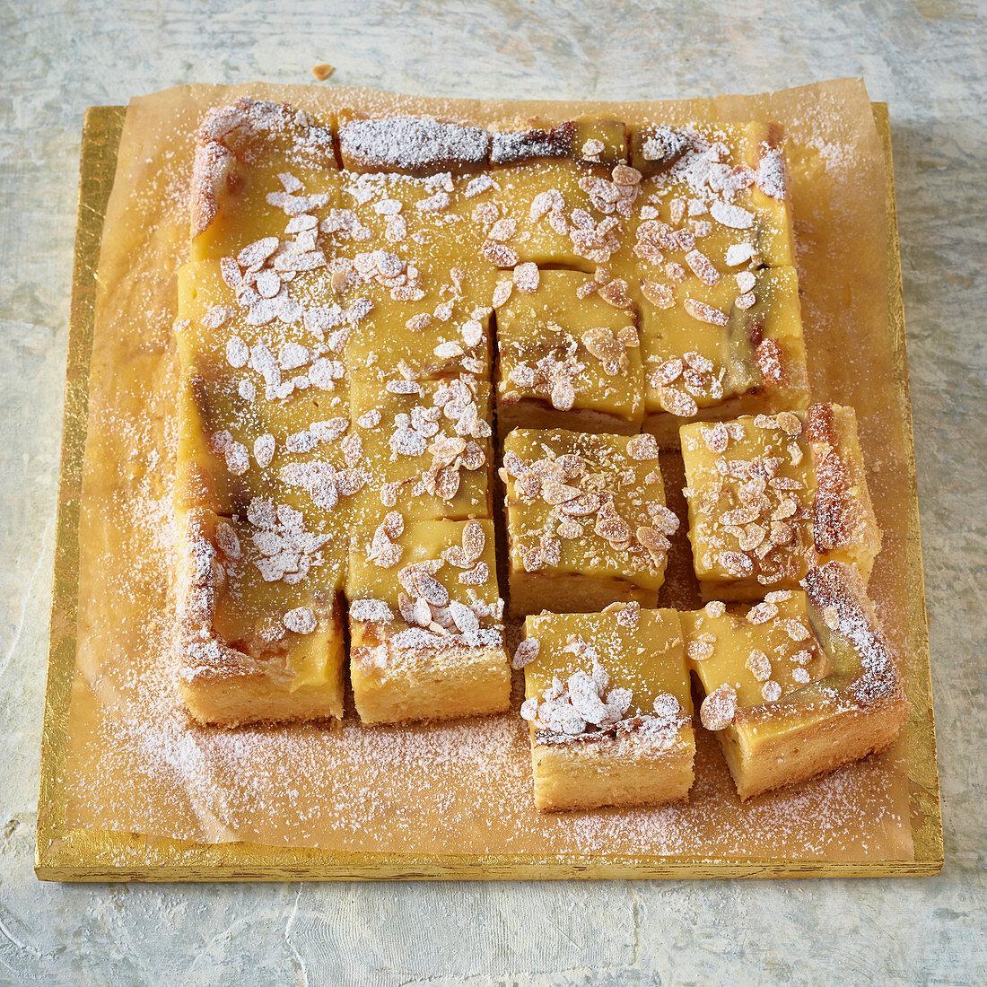 Passion fruit and lemon cream poke cake
