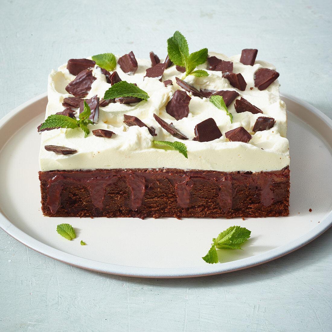 Mint chocolate poke cake