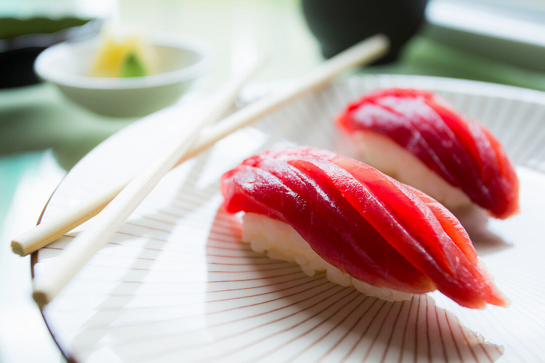 Authentic Japanese tunfish nigiri, fish cutted by a japanese sushi chef.