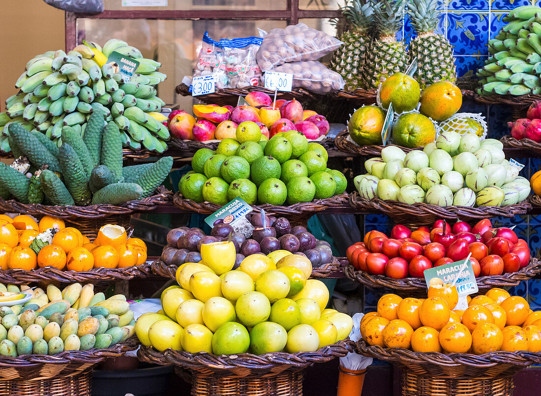 Fruits sold on a local market in Madeira (Portugal)