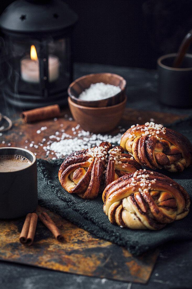 Swedish cinnamon buns with coffee