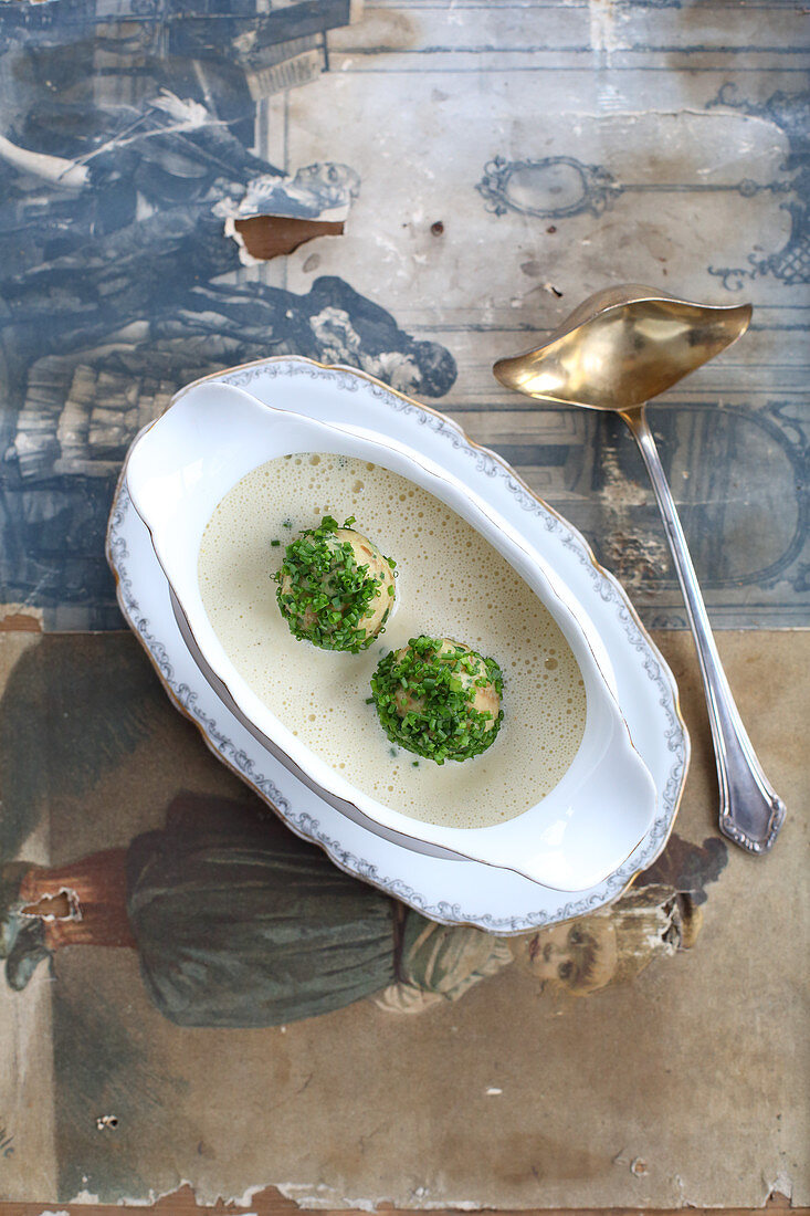 Hamburg root parsley soup with chive dumplings