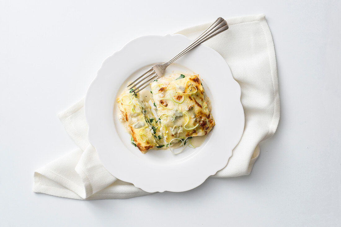 Leek and ricotta lasagne with herbs and gorgonzola béchamel