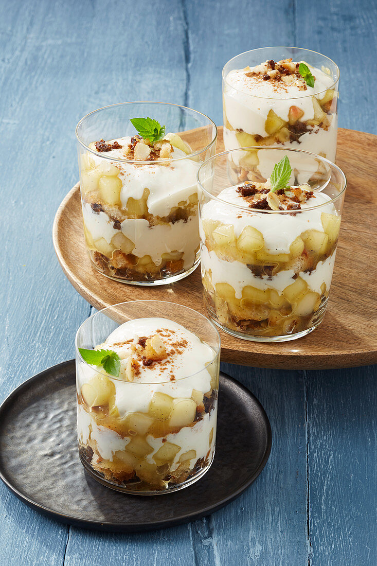 Layered desserts with pumpernickel and apple and pear compote