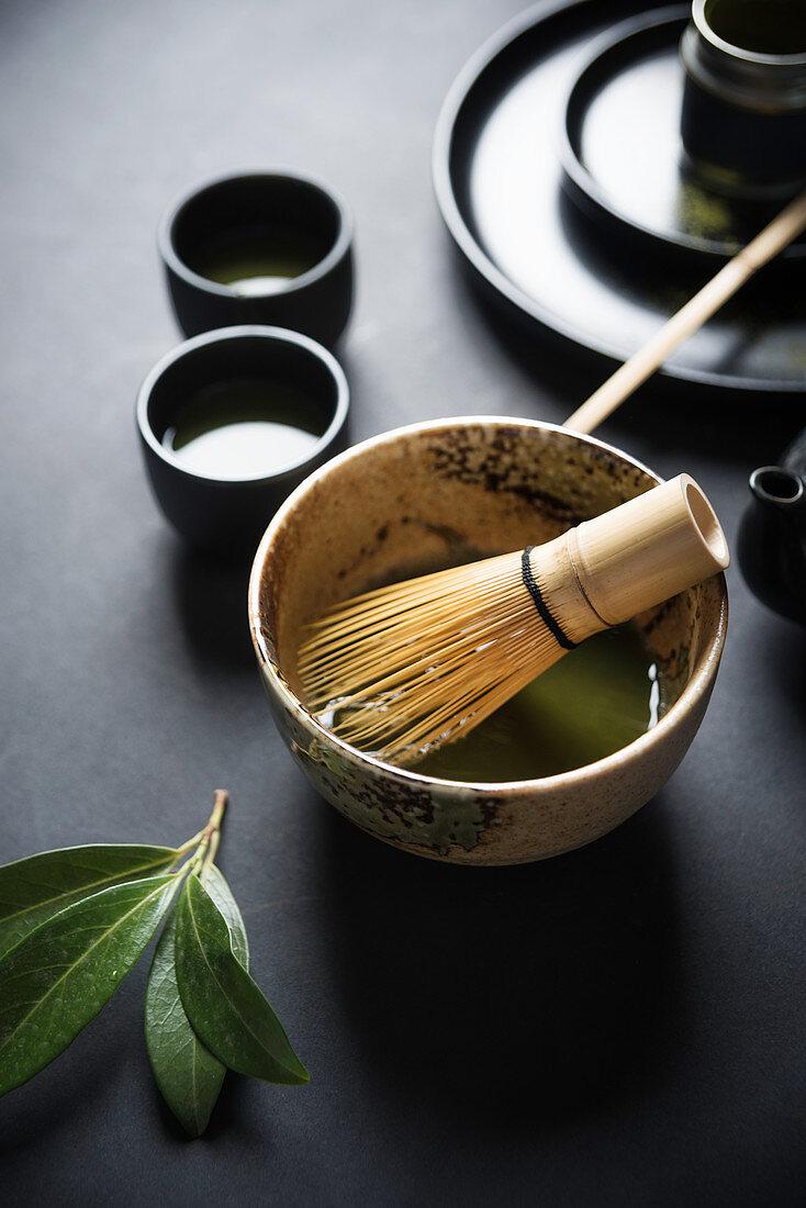 Matcha tea being stirred
