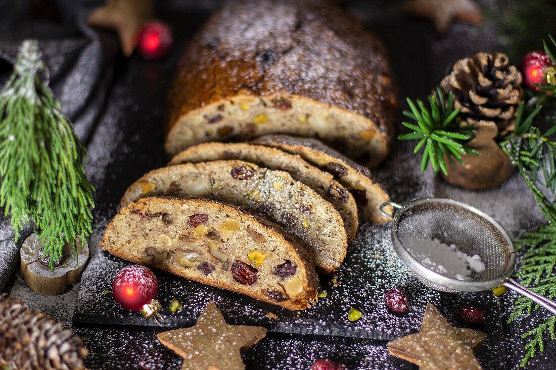 Christmas fruit loaf, sliced