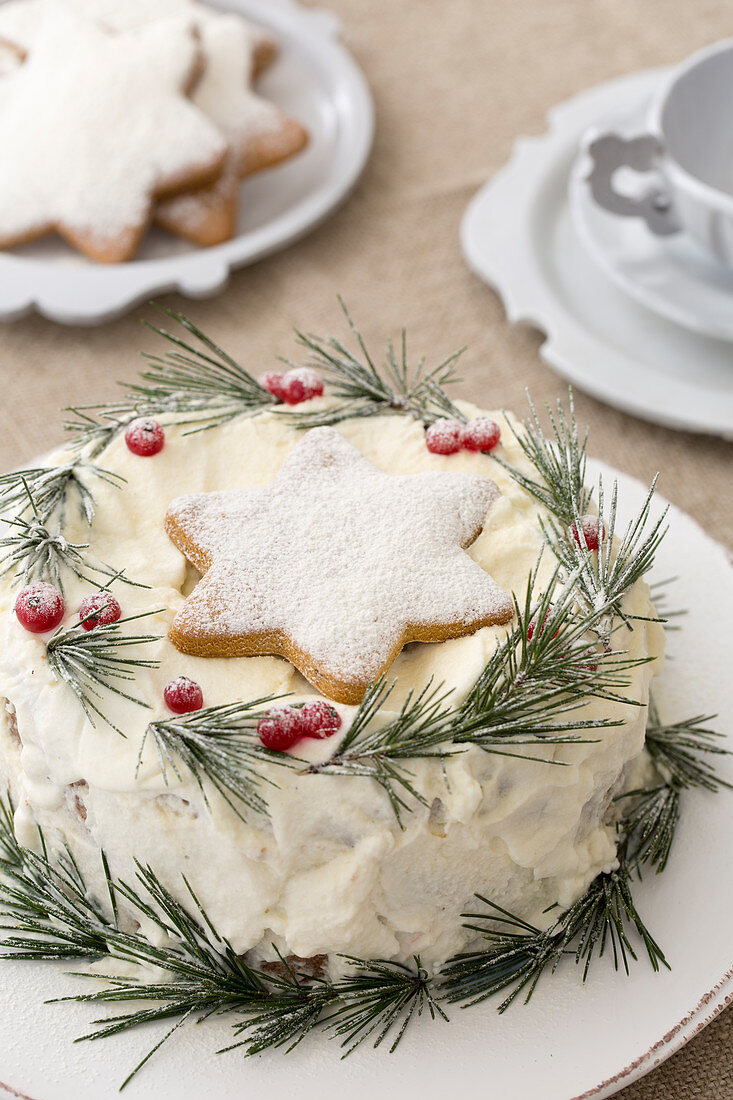 Cake festively decorated with star-shaped biscuit and conifer sprigs