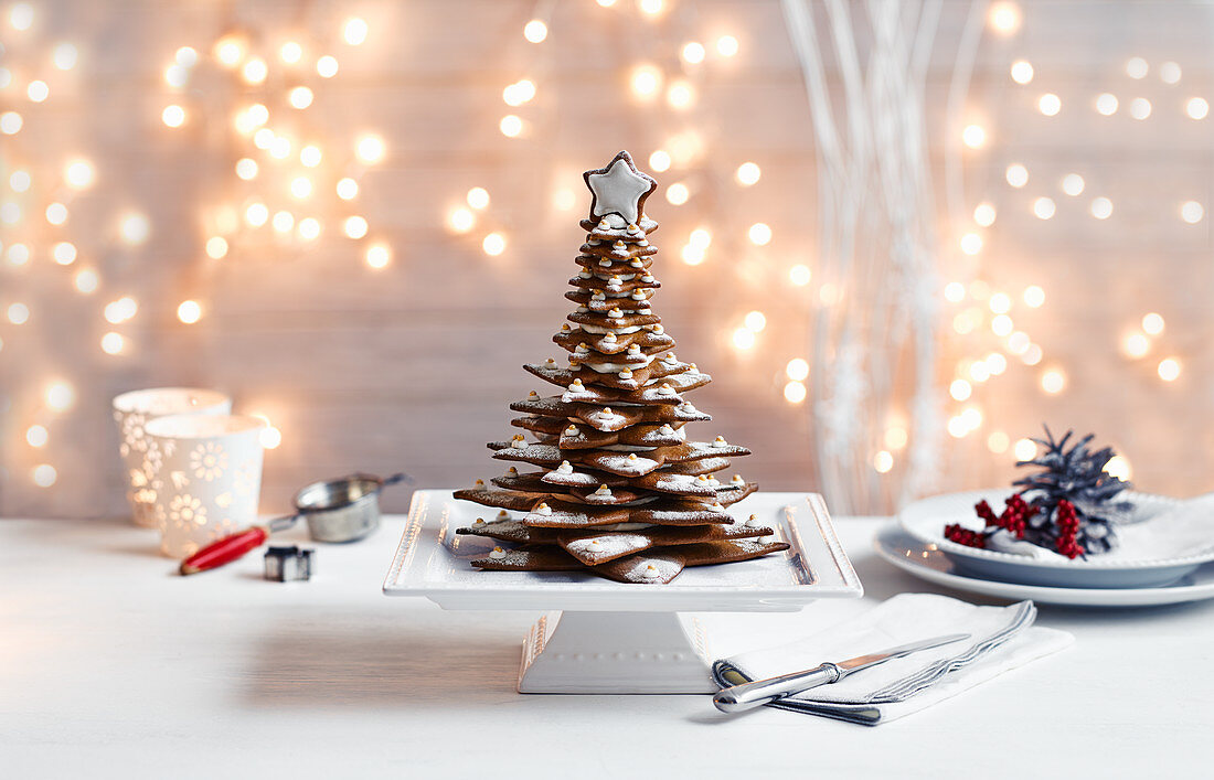 Gingerbread Christmas Tree with snow