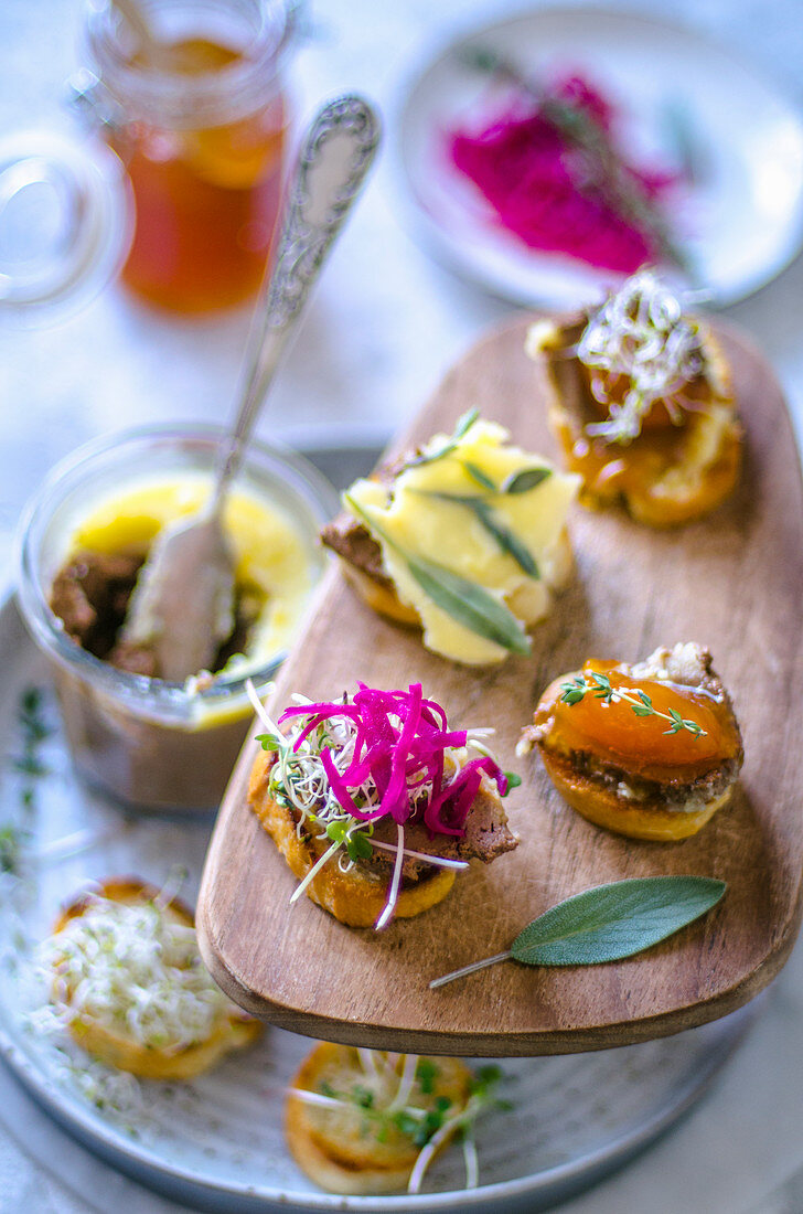 Canape with homemade pate with various additives