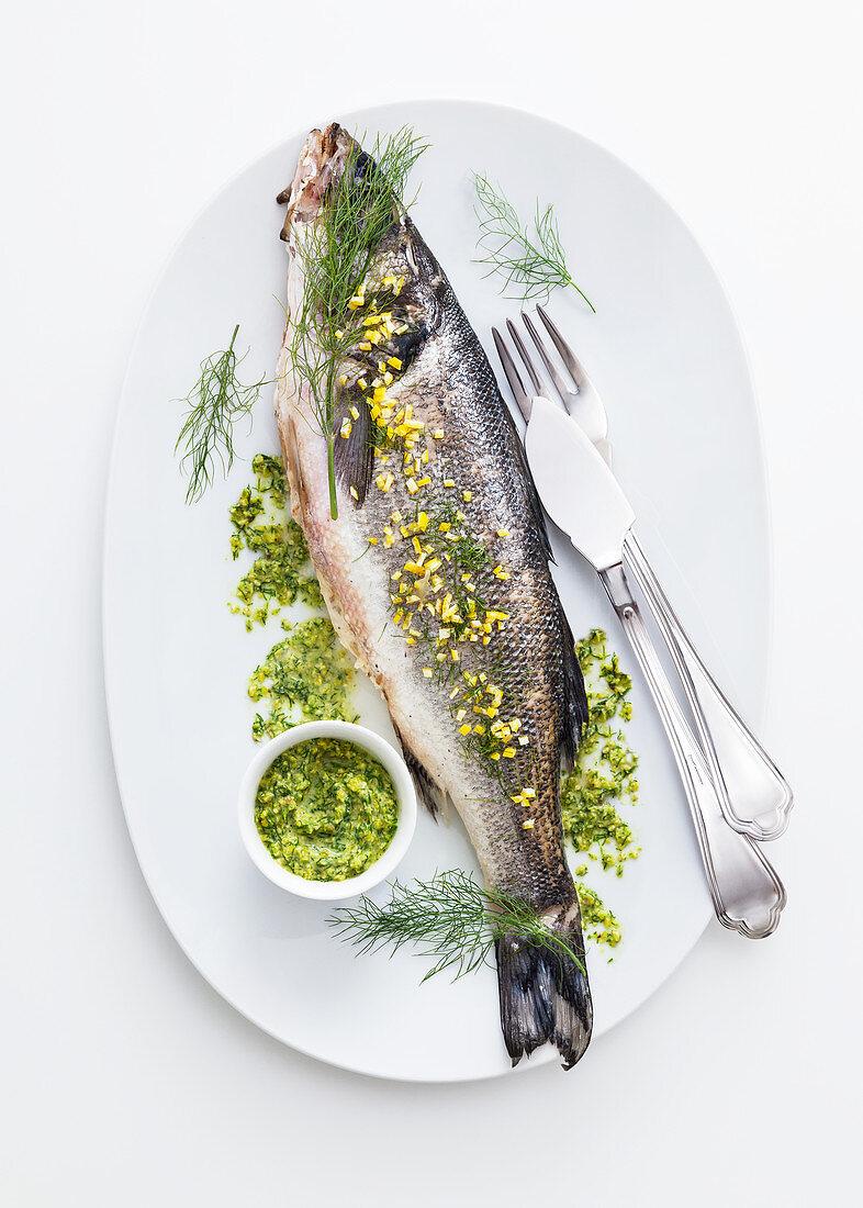 Bass with pistachio sauce