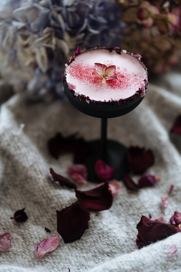 A white vodka cocktail with raspberry powder and a rosebud rim