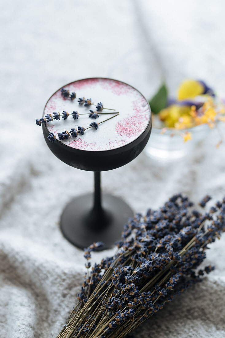 A raspberry and lavender cocktail