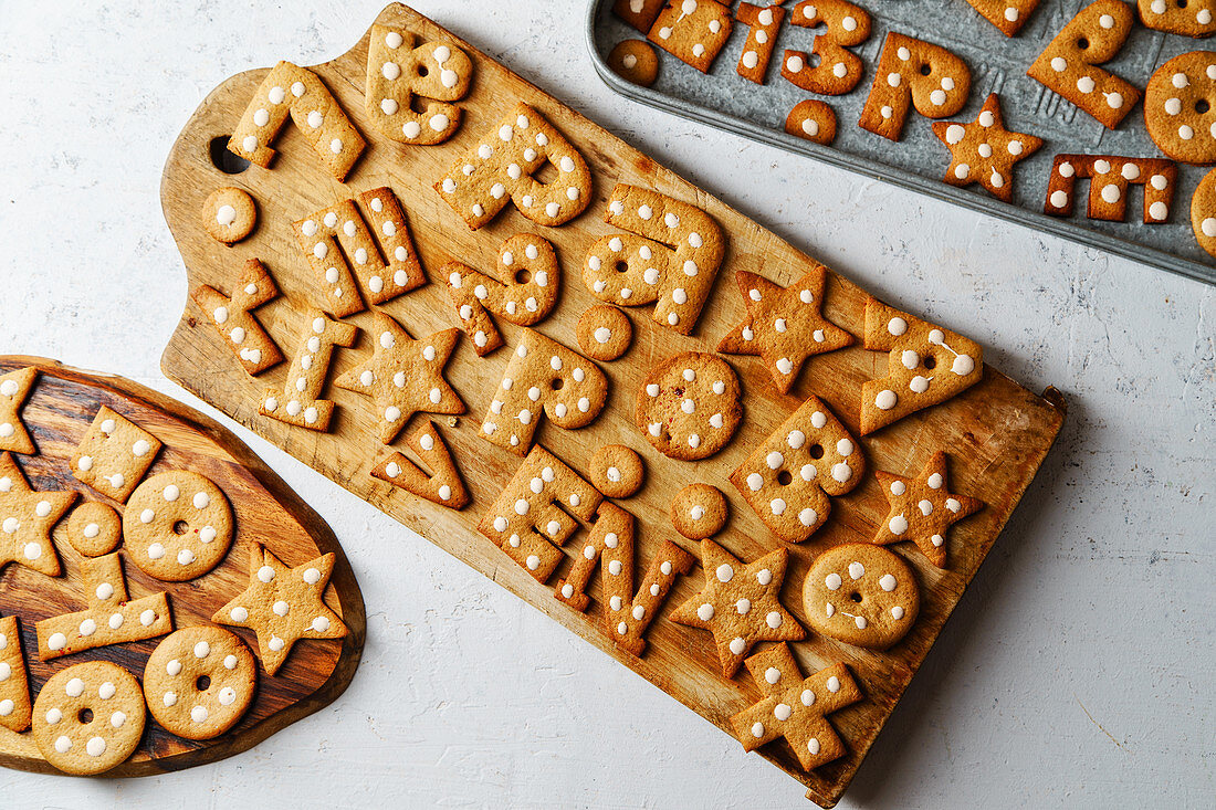 Gingerbread cookies in alphabet and number shapes