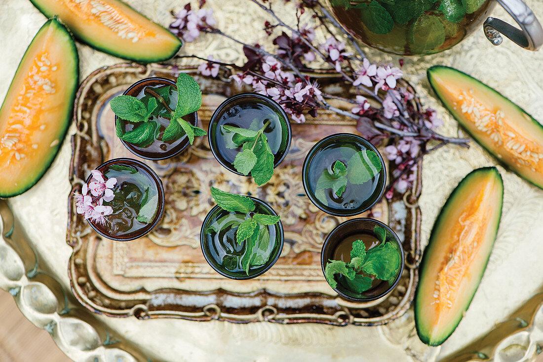Moroccan mint tea and melon