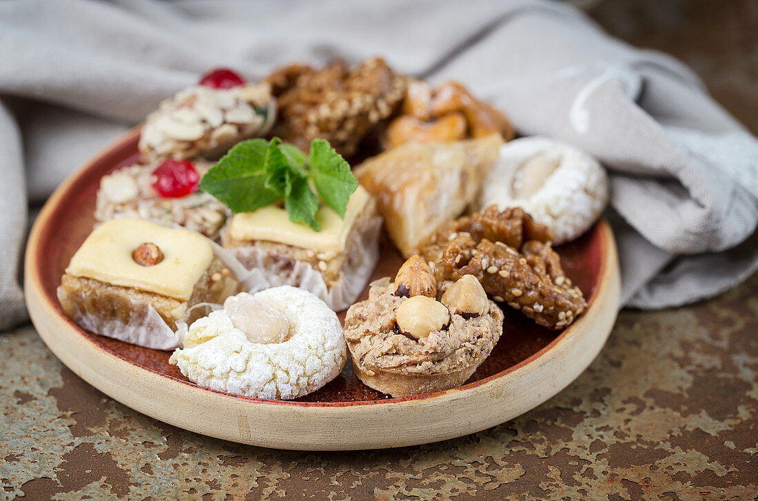 Typical Moroccan sweets with honey and almonds