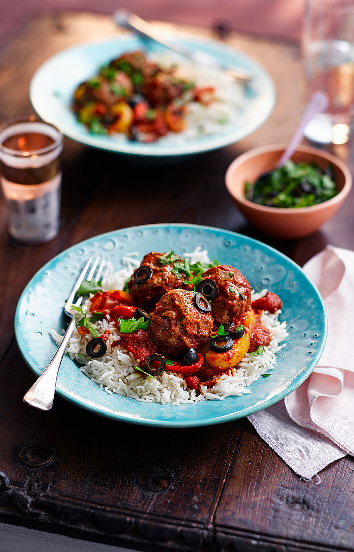 Beef kofte with rice (Morocco)