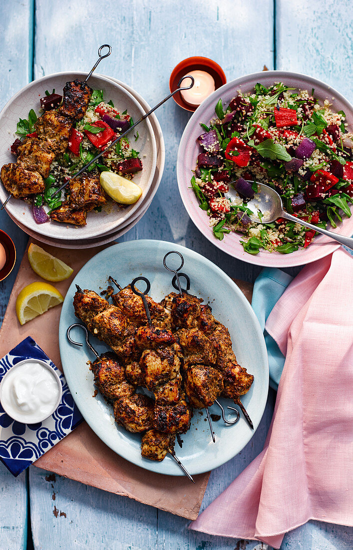 Chicken kebabs with beetroot couscous (Morocco)