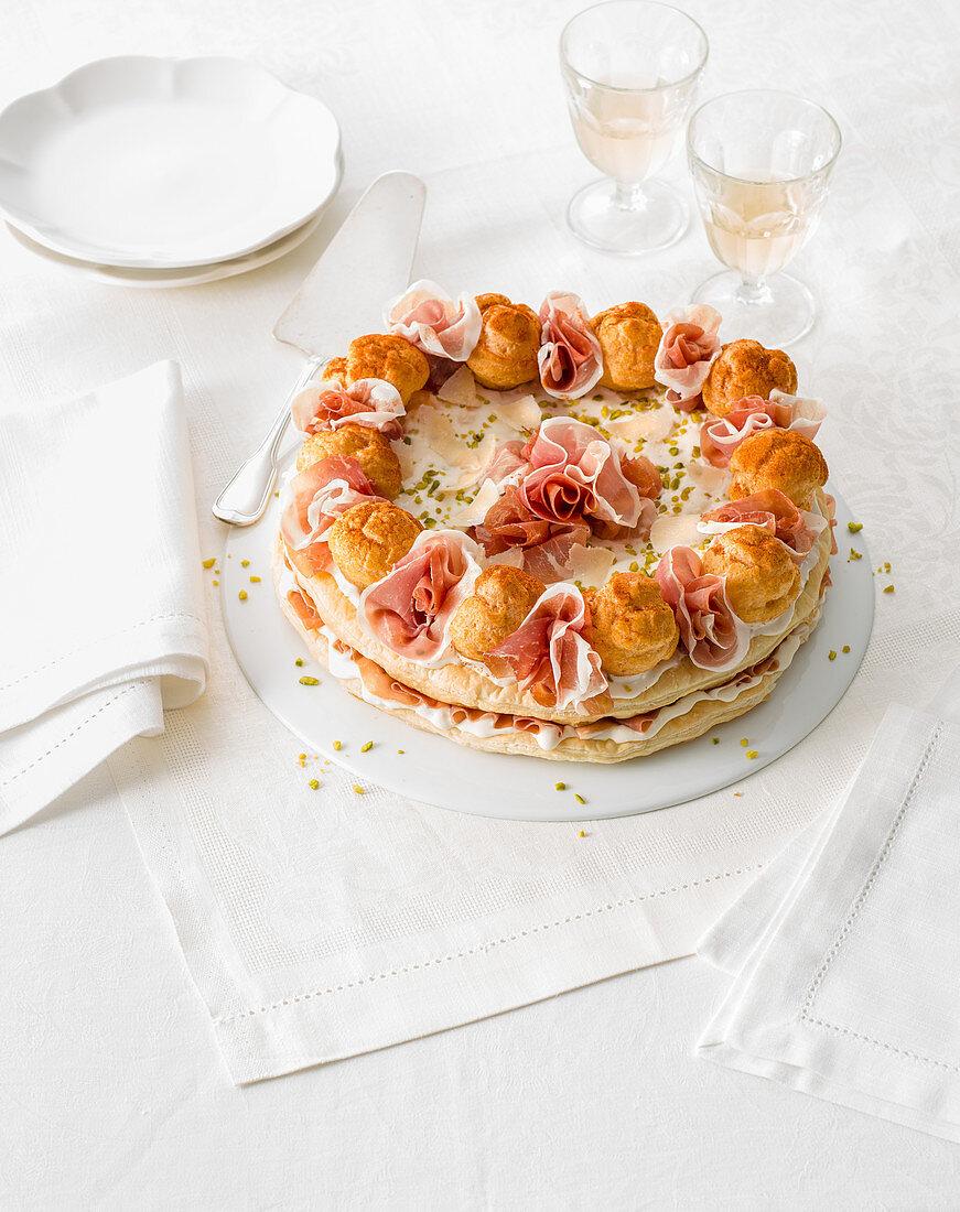 Savory Saint Honoré cake
