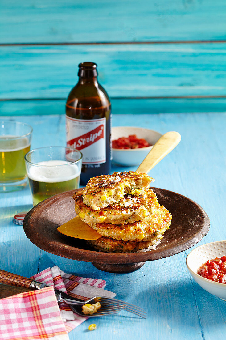 Corn fritters with ginger and tomato chutney (Jamaica)