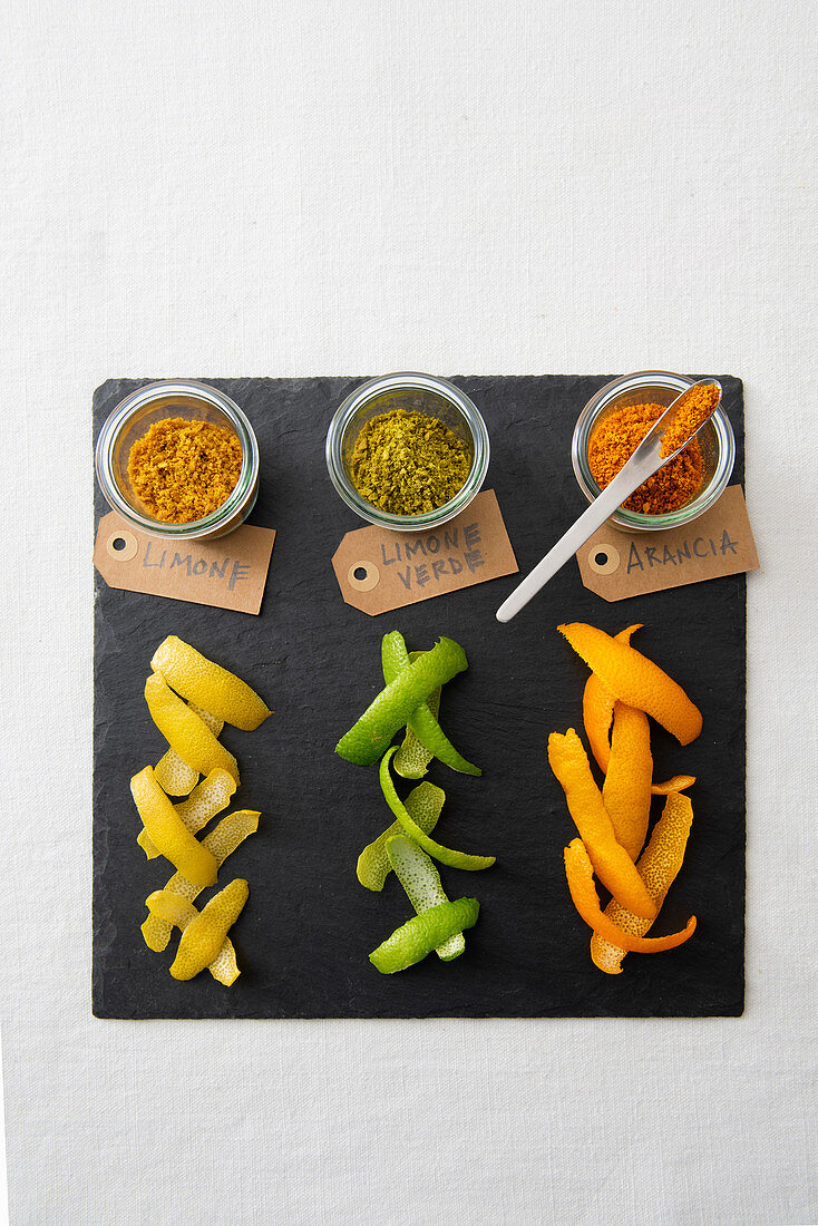 Dried citrus zest powders