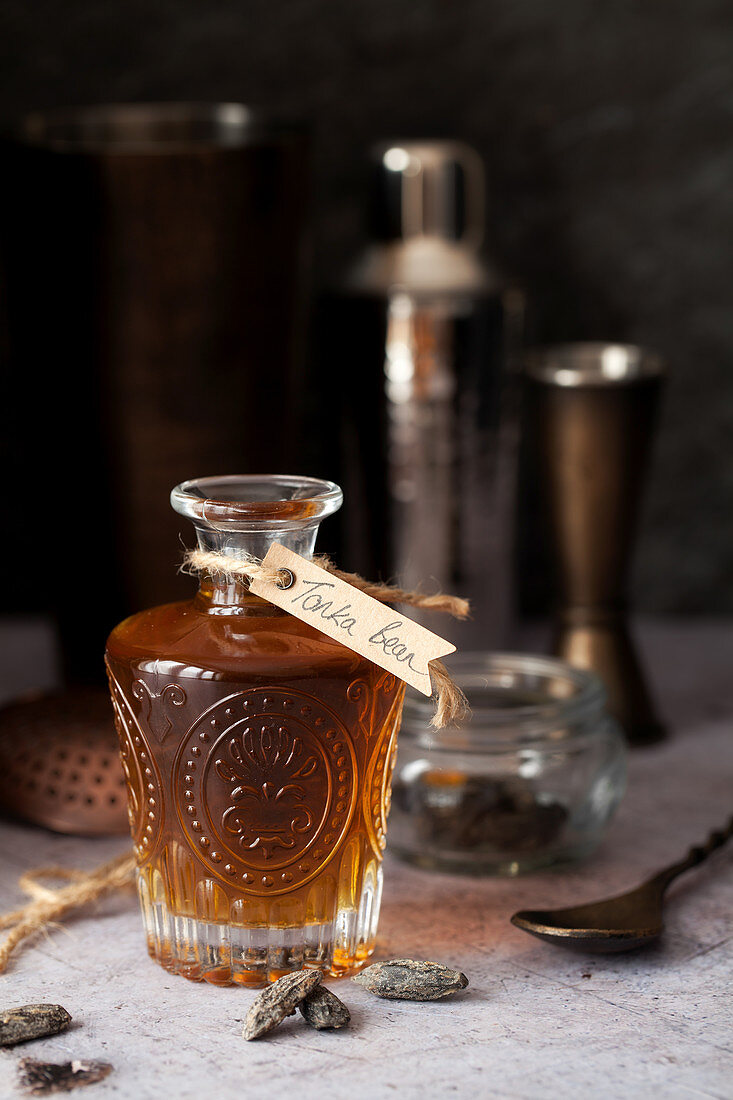 A Bottle of Tonka Bean Flavoured Syrup for Cocktails
