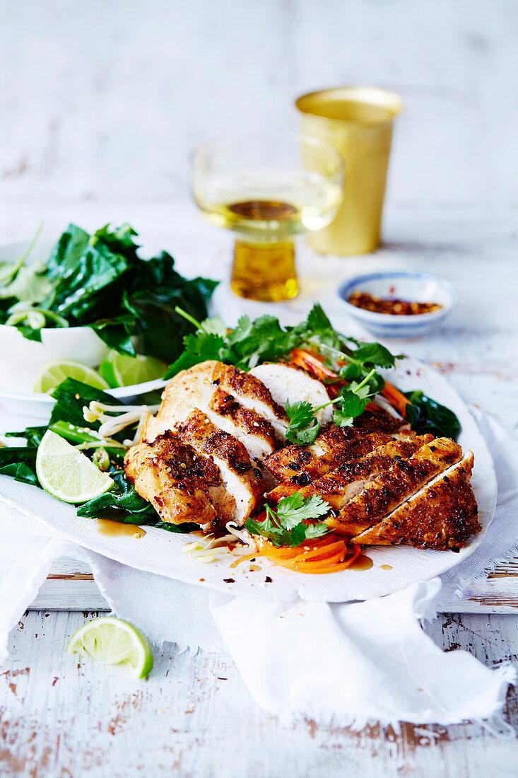 Crispy Salt and Pepper Chicken with Gai Lan