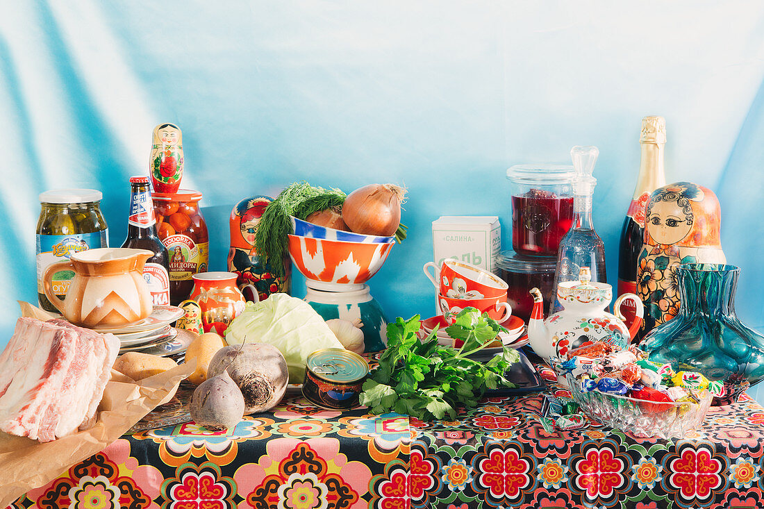A table laid with Russian food and Russian ceramics
