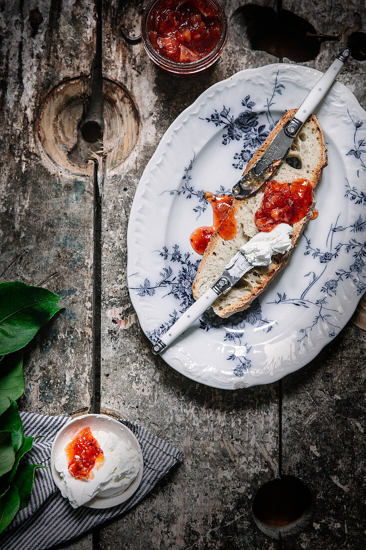 Toast with blood orange jam and soft cheese