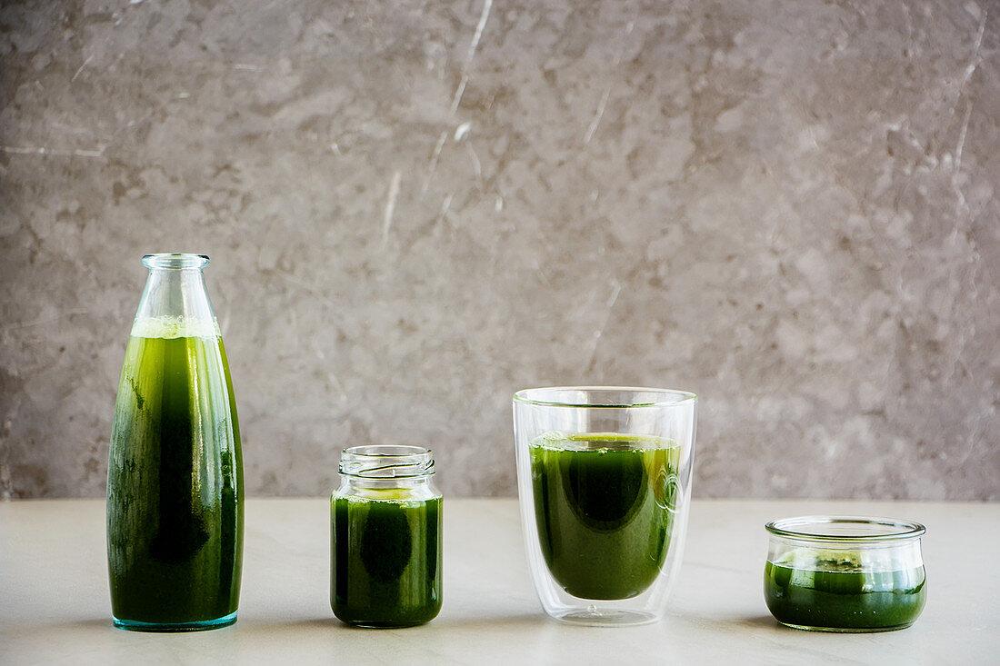Fresh morning green detox smoothies