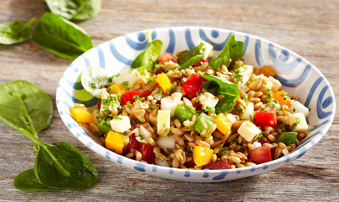 Vegetarian pepper and spelt salad with spinach, cheese, vegetables, pears and vinaigrette