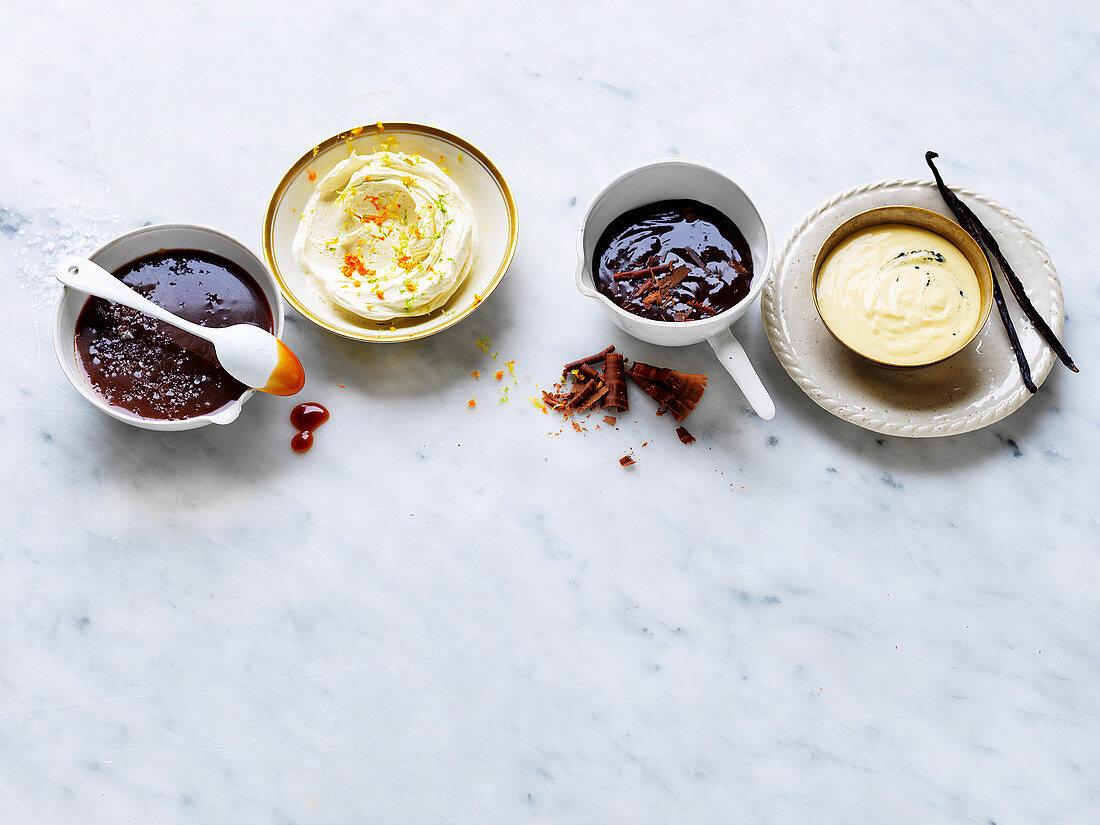 Pudding Sauces - Salted Caramel Sauce, Citrus Hard Sauce, Warm Fudge Sauce, Bourbon Creme Anglaise