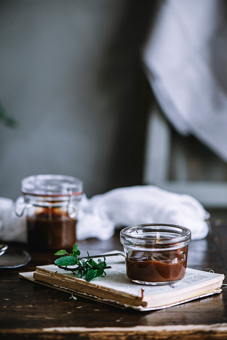 Jars of caramel sauce