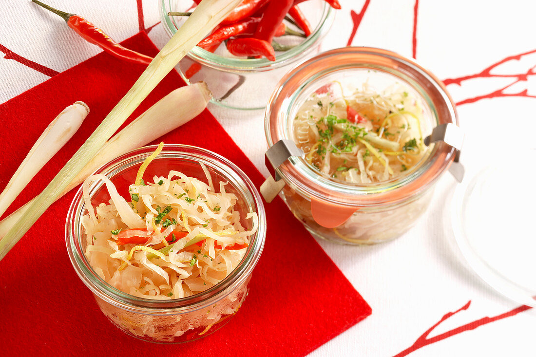 Pickled chilli and white cabbage with garlic, onion, ginger, lemongrass and apple juice