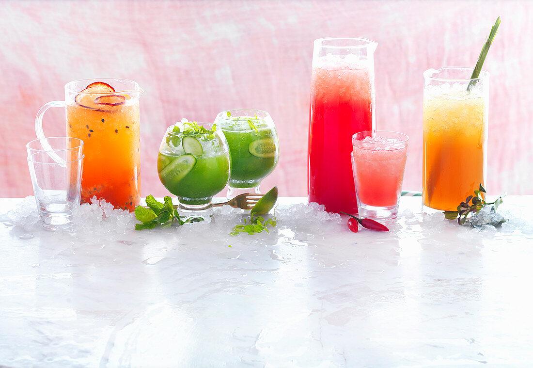 Fruity Gin Spritzer, Minty Apple Frappe, Watermelon Stinger, Earl Grey Iced Tea Punch