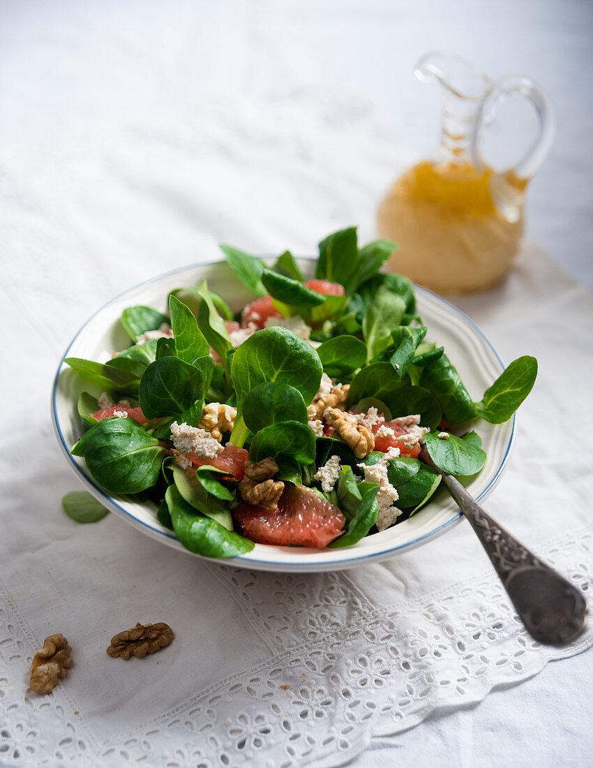 Lamb's lettuce with blood orange, tofu, walnuts and a blood orange, mustard and oil dressing