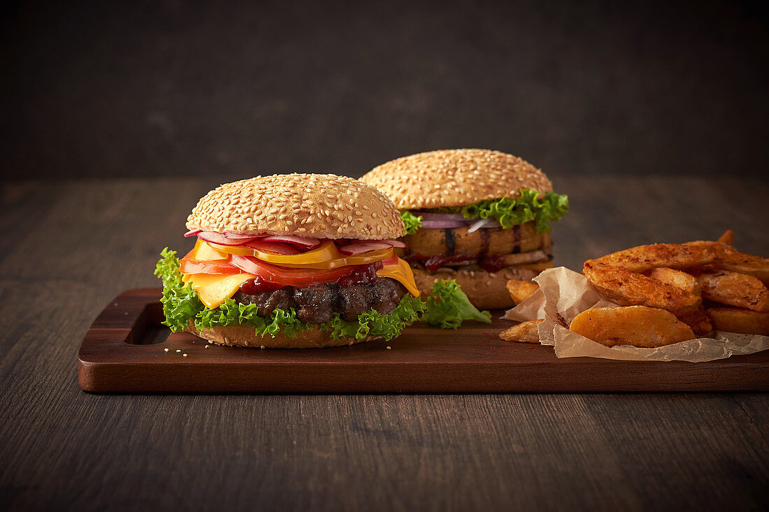 Grilled Beef Burger and Grilled Chicken Burger with wedges