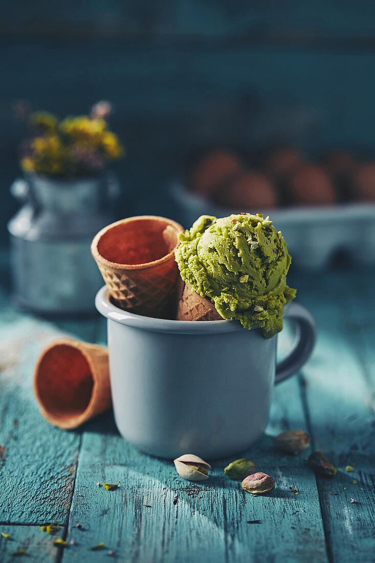 Artisan Pistachio Gelato Ice Cream with Cone Waffle