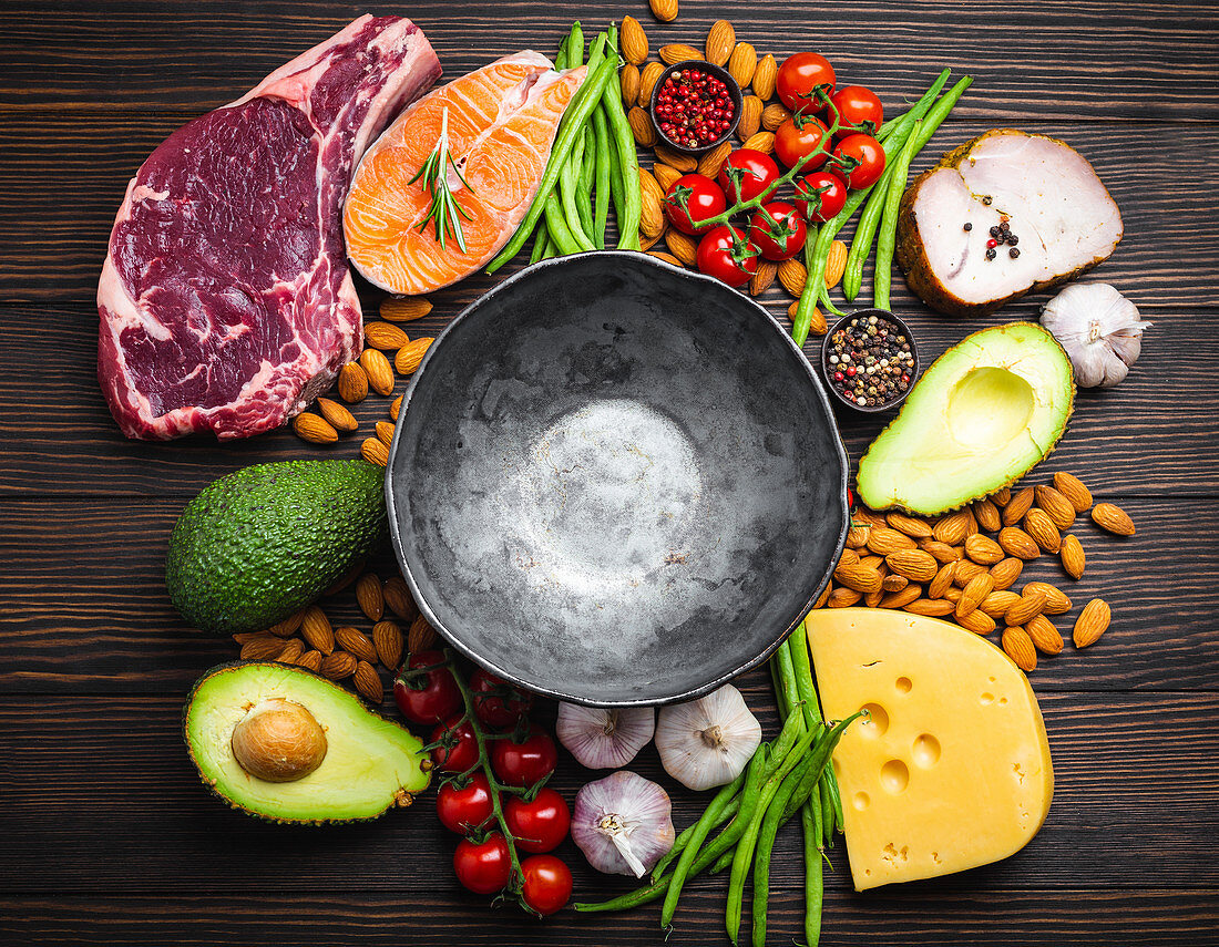 Bowl with low carb ingredients for clean eating and weight loss