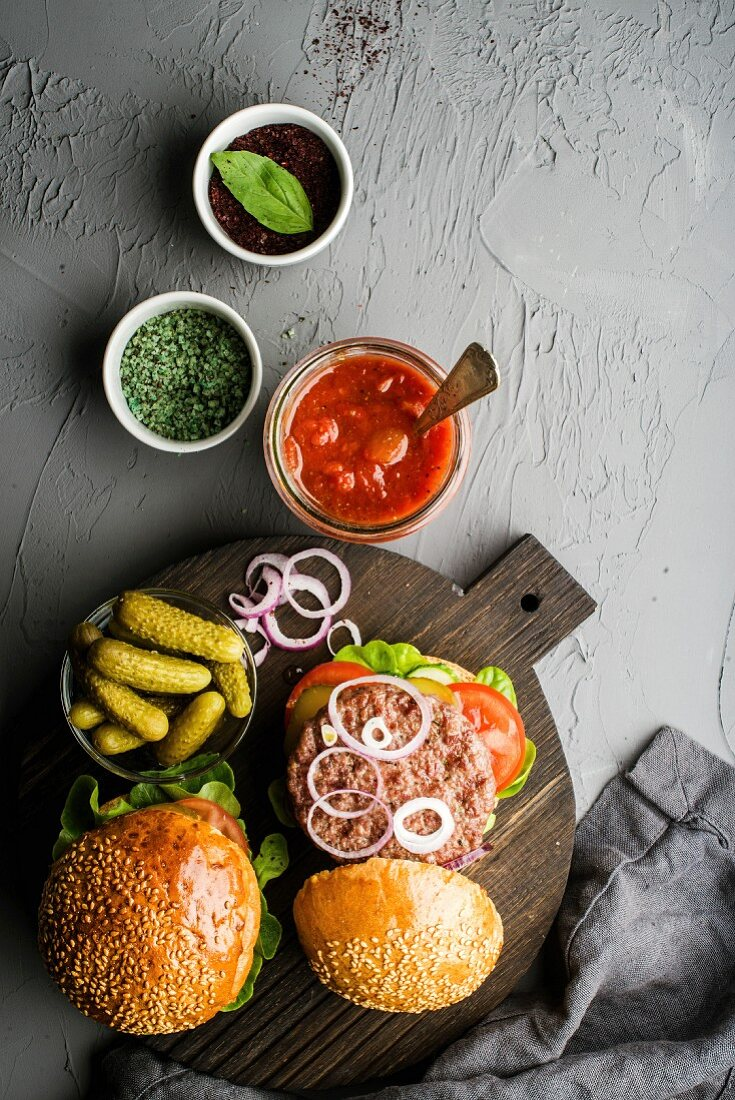 Fresh Homemade Burgers On Dark Serving License Images 12261763 Stockfood