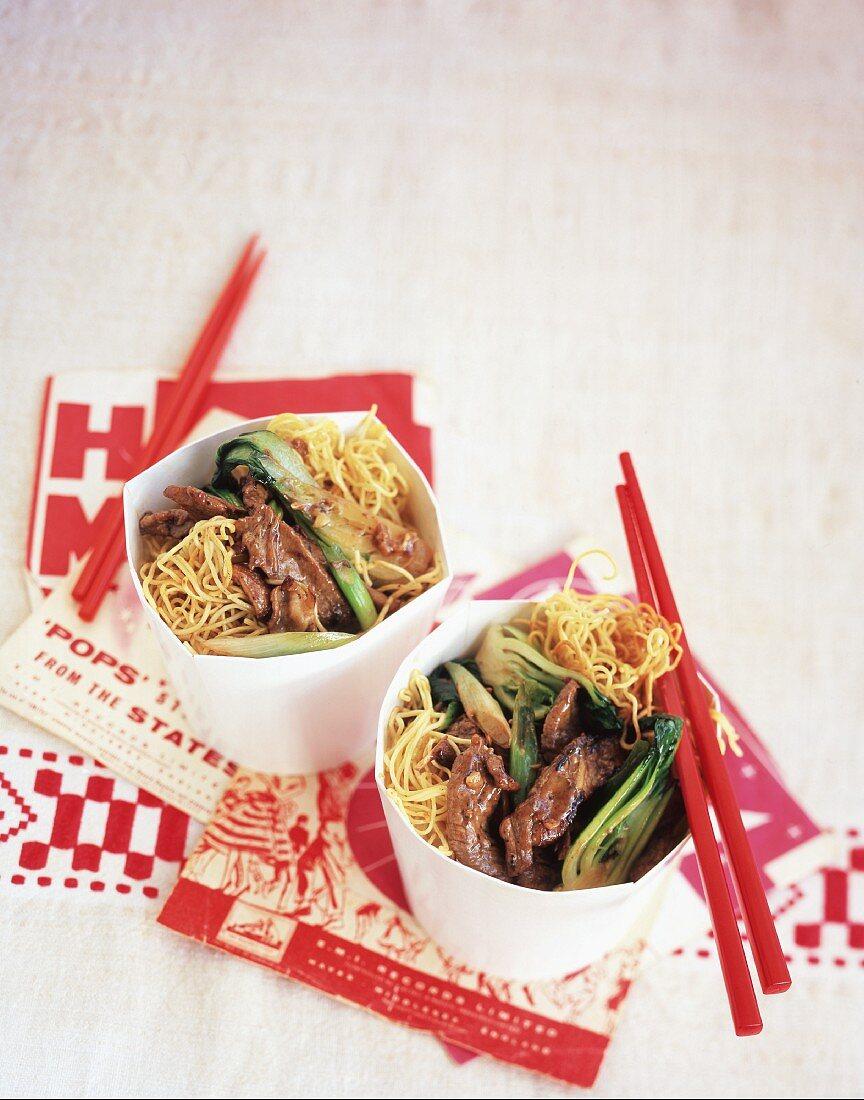 Takeaway noodles with chopsticks