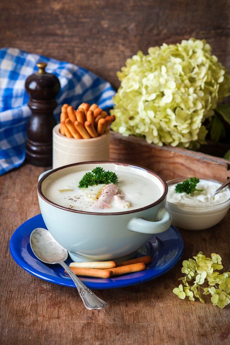 Hot thick soup from chicken and potatoes