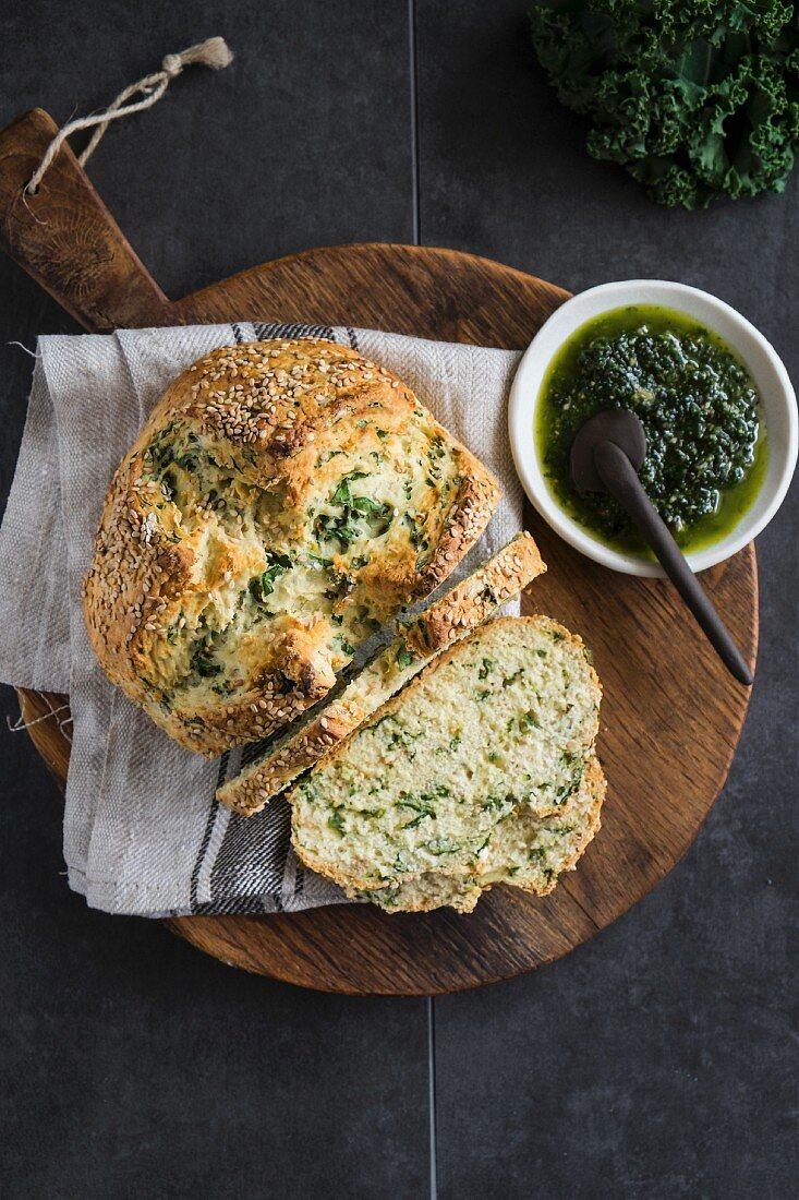 Irish soda bread with kale
