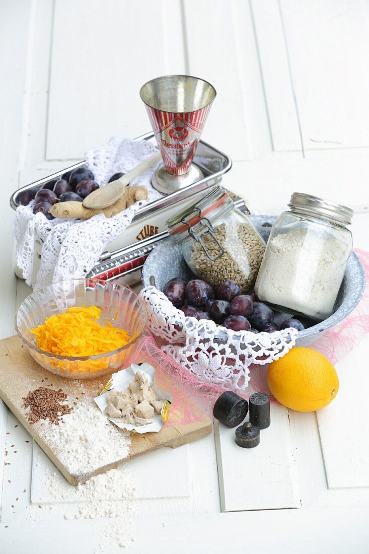 Various ingredients for baking homemade bread