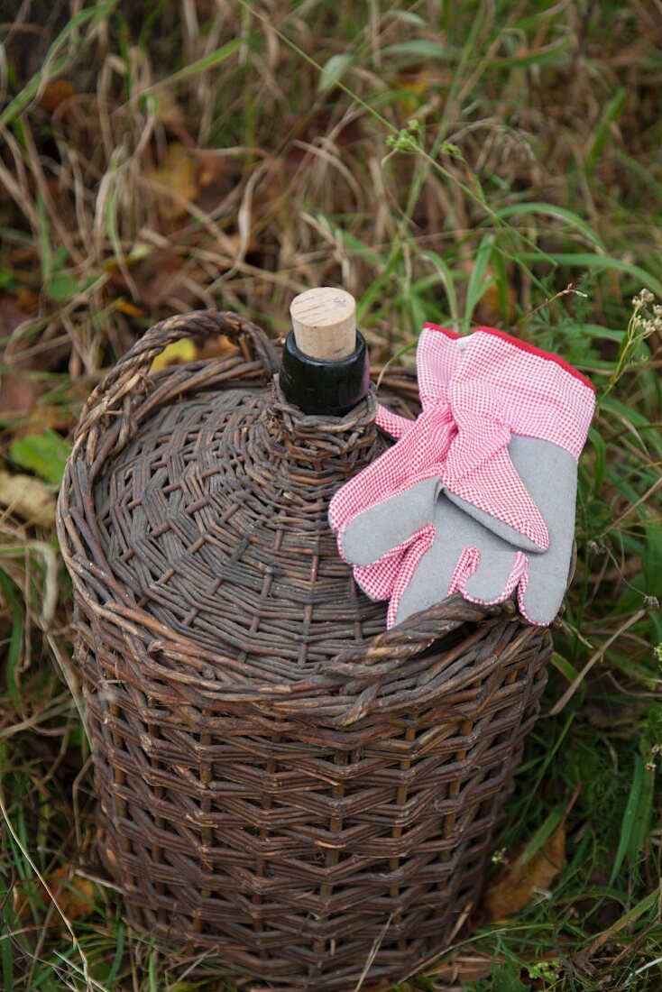 A basket and a pair of garden gloves in a meadow