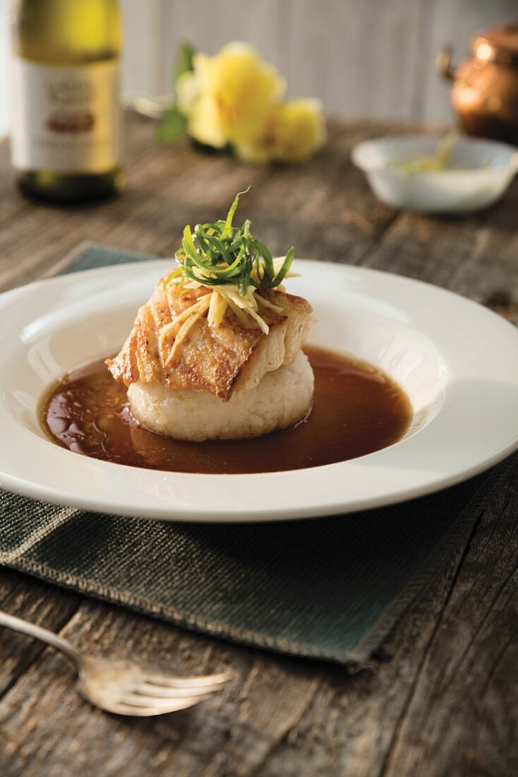 Atlantic grouper with sushi rice and soy-citrus glaze